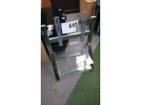 TV Stand Metal Bracket and Glass Shelving