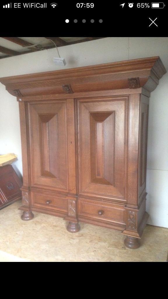 Antique solid oak wardrobe
