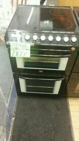 ZANUSSI 55CM ELECTRIC DOUBLE OVEN COOKER IN BLACK