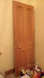 Original wooden door with handle