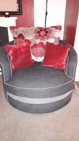 l-shaped grey and black fabric sofa