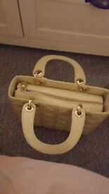 dior patent beige hand bag for sale