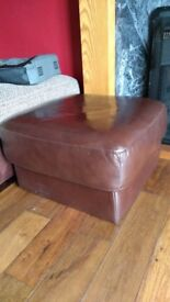 Brown leather-look foot stool