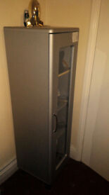 Vintage grey cabinet with 4 shelves with glass door. £20 no delivery .