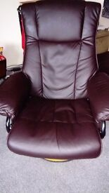Brown leather Recliner and rotating chair