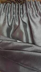 Lined curtains with tie backs approximately 228cm x226cm