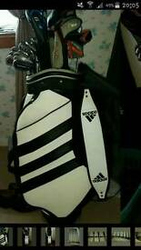 ADIDAS GOLF BAG , FULL CLUB SET and TROLLEY.