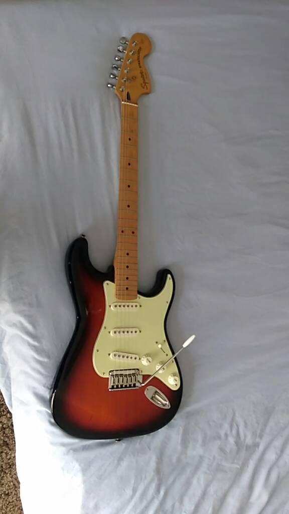 Squier by Fender Standard Stratocaster sunburst maple neck electric guitar  upgraded | in Nuneaton, Warwickshire | Gumtree