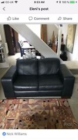 3 + 2 seater black leather sofas