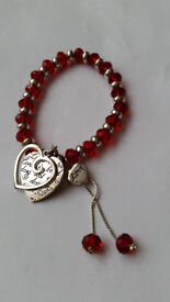 New - red and silver bracelet