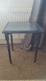 Annie Sloan blue glass top side table