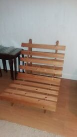 PINE FUTON WITH WELL PADDED COMFORTABLE MATTRESS