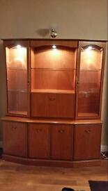 Cherry wood display cabinet with lights, matching TV unit and nest of tables