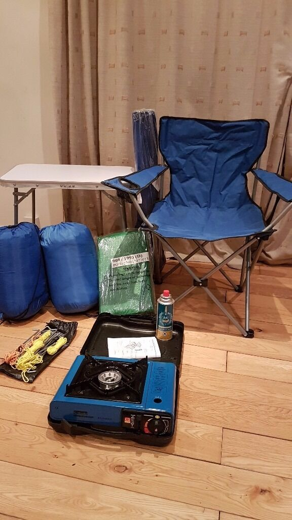 Camping gear accessoriestable chairs stove sleeping bags pegs, ground sheetin Kingston, LondonGumtree - Camping Accessories including 1. Folding Camping Table argos product 3400298 2. Steel Folding Camping Chair x 2 argos product 9278321 3. Proaction 300GSM Single Envelope Sleeping Bag x 2 argos product 9276165 4. Huge ground sheet 5. Pegs, peg...
