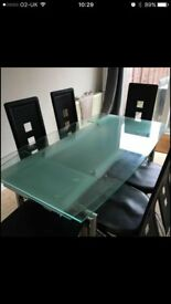 6 Seater Extendable Glass table and chairs