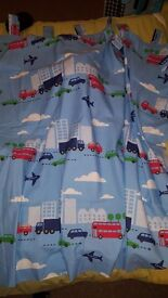 Boys bedroom curtains (vehicles (cars etc) tab top with tie backs), car cushion and 3 prints