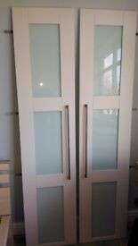 Howdens Wardrobe storage Doors Immaculate condition White with Glass Inserts + hinges + handles