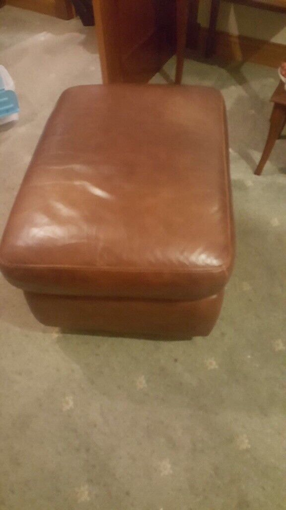 3pc leather suite and footstool