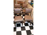 Four Dining Chairs, Antique oak, beige faux leather seats.Mint