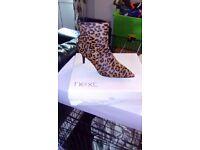 Next leopard print suede 3 inch boots bnib size 6.5