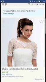 Clarissa ivory lace bridal bolero/ jacket size 12