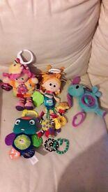Baby toys mixed lamaze pram pushchair clip on toys