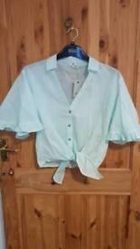 River Island Green striped, frill sleeved shirt