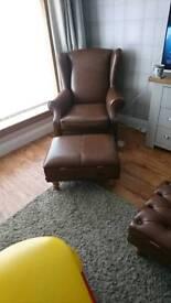 Brand new sherlock tan leather chair footstool set