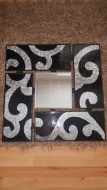Stunning silver & black mosiac mirror/walllart