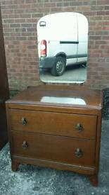 Retro set of wooden drawers with mirror, delivery available