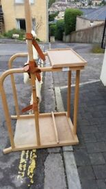 Standing frame with workstation.