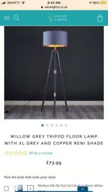 Willow Grey Tripod Floor Lamp