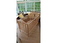 Cot Bed (Mamas & Papas) with removable sides and toddler bed side safety rail