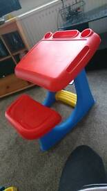 Kids plastic desk with seat