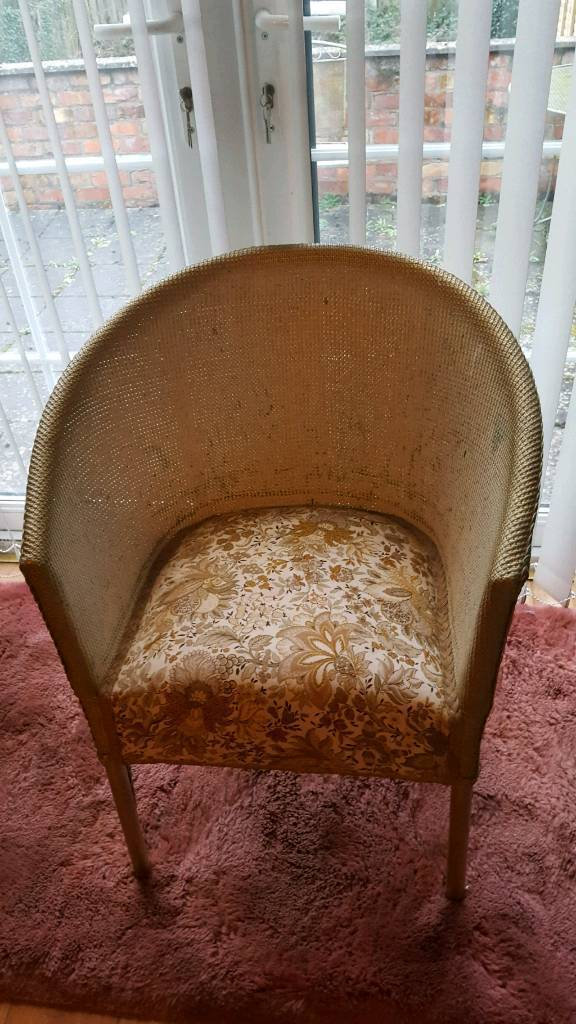 Lloyd loom bedroom chair flower pattern gold trim perfect springs Christmas gift?