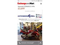 Kawasaki ZZR600 for sale or swap for bike that can be restricted to A2 licence