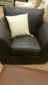 New chocolate brown armchair in soft fabric