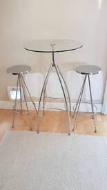 John Lewis glass table and 2 stools