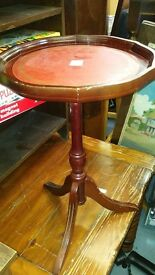 Occasional Table - red leather top dark wood telephone coffee