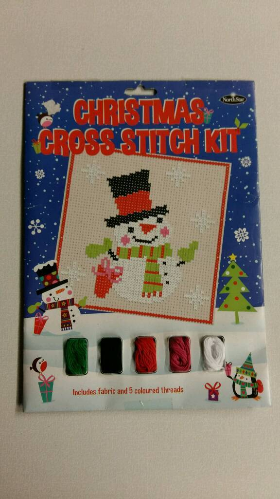 Simple Christmas snowman cross stitch