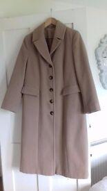 Long camel coat hardly worn
