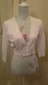White cropped cardigan size 16