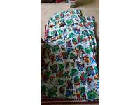 USED AVENGERS SINGLE DUVET COVER AND PILLOW CASE