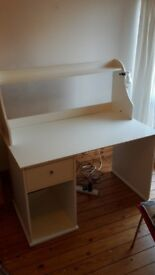 White desk for sale, with a drawer and a shelf. In perfect condition.