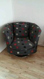 Dfs grey spotted swivel chair
