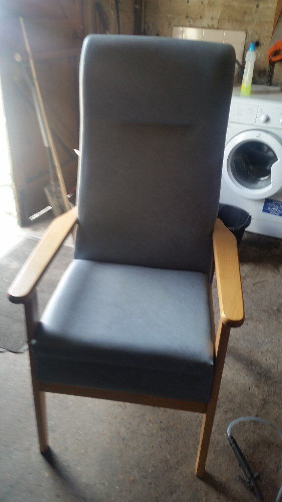 High Back Blue Vinyl Commode Chair In Dagenham London