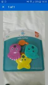 New baby teether pack and water themometer