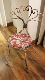 Fabric covered metal chair