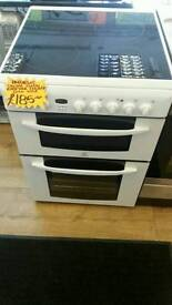 INDESIT 60CM ELECTRIC DOUBLE OVEN COOKER IN WHITE