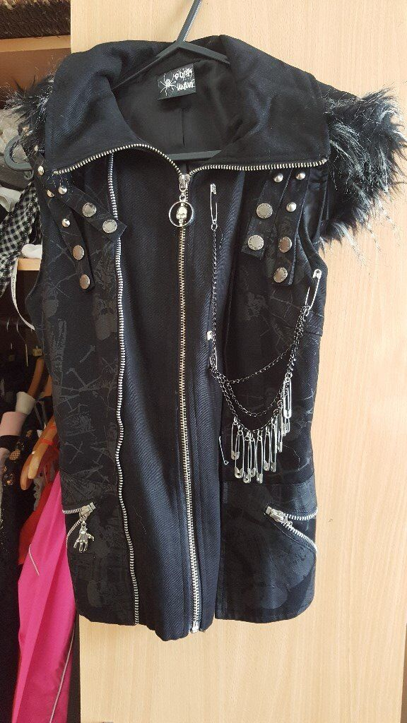 Emo jacket with no sleevesin Islington, LondonGumtree - nice emo styled jacket with no sleeves, it has a hoodie that can be zipped off and has chains running down it. worn only once and is in perfect condition